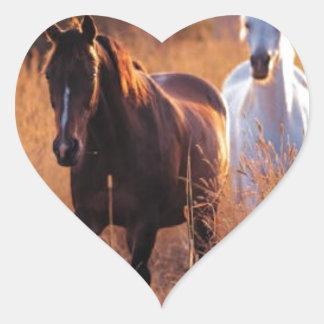 Caballos hermosos pegatina de corazon personalizadas