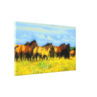 caballos impresión en lienzo