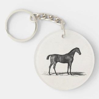 Caballos ingleses de la carrera de caballos de la  llavero redondo acrílico a una cara