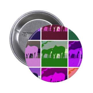Caballos multicolores del arte pop pin redondo 5 cm