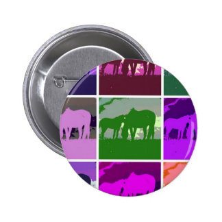 Caballos multicolores del arte pop pin redondo de 2 pulgadas