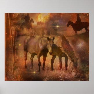 Caballos occidentales que pastan póster