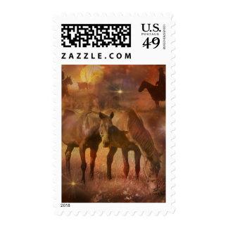 Caballos occidentales que pastan sello postal