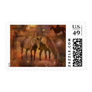 Caballos occidentales que pastan sellos