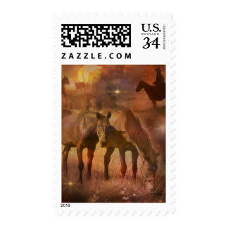 Caballos occidentales que pastan sellos postales