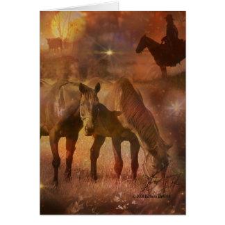 Caballos occidentales que pastan tarjeta de felicitación