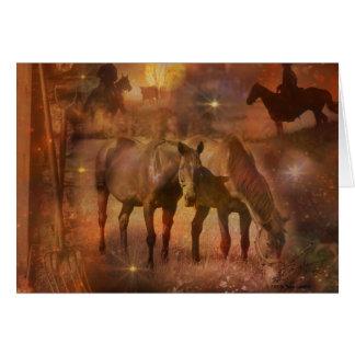 Caballos occidentales que pastan tarjeta pequeña