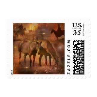 Caballos occidentales que pastan timbre postal