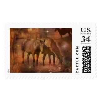 Caballos occidentales que pastan timbres postales