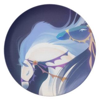 Caballos - placa azul de la melamina platos para fiestas