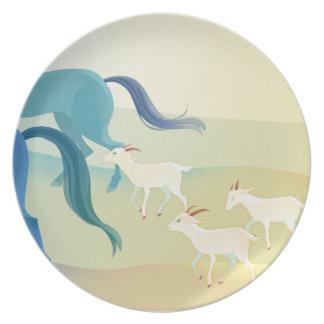 Caballos - placa de la melamina de las cabras plato