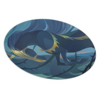 Caballos - placa de la melamina de las espinas platos