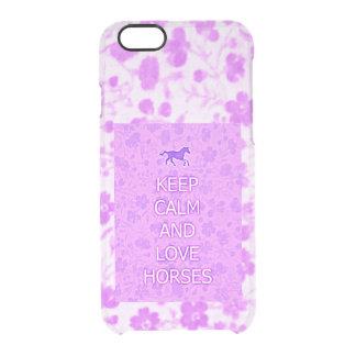 Caballos púrpuras del amor del calicó funda clearly™ deflector para iPhone 6 de uncommon