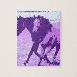 Caballos púrpuras del arte pop puzzle con fotos