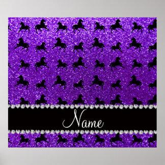 Caballos púrpuras personalizados del brillo del póster