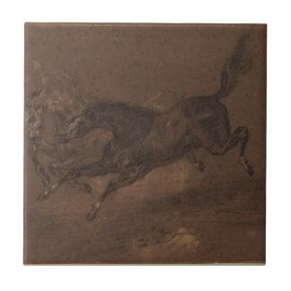 Caballos que corren por Eugene Delacroix Azulejo Cuadrado Pequeño