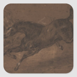 Caballos que corren por Eugene Delacroix Pegatina Cuadrada