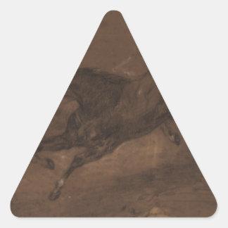 Caballos que corren por Eugene Delacroix Pegatina Triangular
