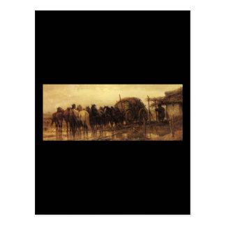 Caballos que enganchan de Adolfo Schreyer al carro Postal