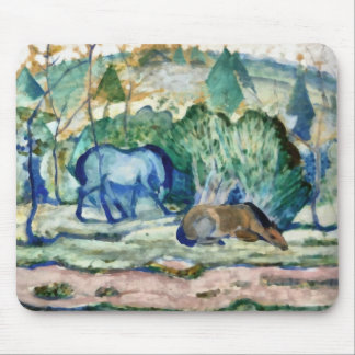 Caballos que pastan el arte Mousepad Tapetes De Raton