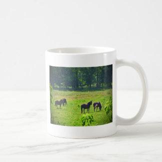 Caballos que pastan en el pasto verde taza básica blanca