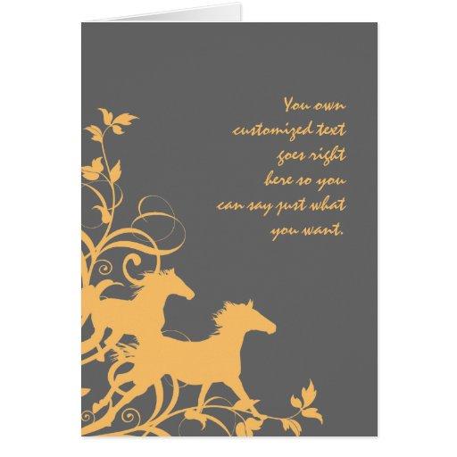 Caballos salvajes amarillos y grises tarjeta de felicitación