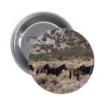 Caballos salvajes del mustango en el desierto 2 pin redondo de 2 pulgadas