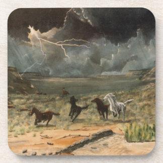 Caballos salvajes en una tempestad de truenos posavasos de bebida
