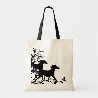 Caballos salvajes negros bolsas de mano