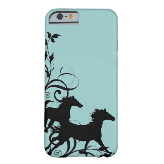 Caballos salvajes negros funda de iPhone 6 barely there