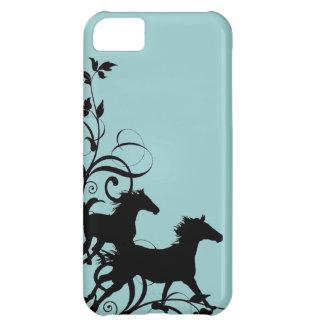 Caballos salvajes negros funda para iPhone 5C