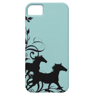 Caballos salvajes negros funda para iPhone SE/5/5s
