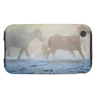 Caballos salvajes que corren a través del agua tough iPhone 3 cárcasa