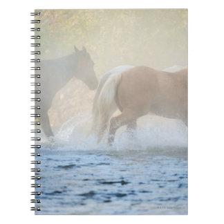 Caballos salvajes que corren a través del agua libros de apuntes