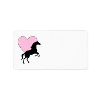 Caballos y amor etiqueta de dirección