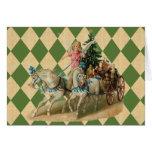 Caballos y ángel de Navidad del vintage Tarjetón