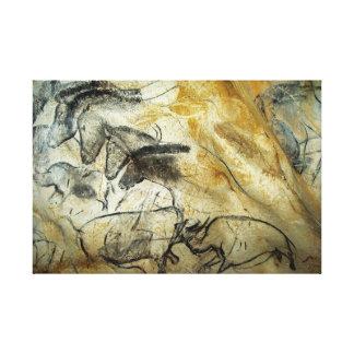Caballos y animales de la pintura de cuevas de lienzo envuelto para galerías