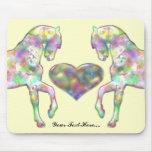 Caballos y corazón adaptables Mousepad Tapete De Raton