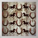 Caballos y herraduras en los regalos de madera del poster