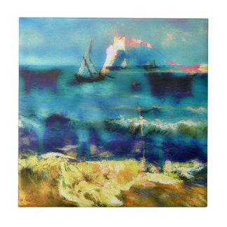 Caballos y mar - Bierstadt y Van Gogh Azulejo