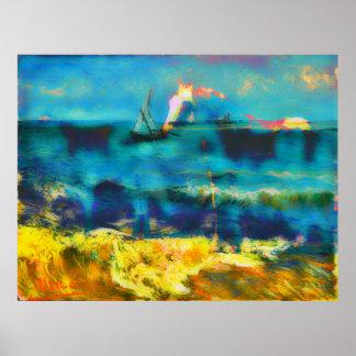 Caballos y mar - Bierstadt y Van Gogh Poster