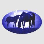 Caballos y noche azul calcomanía de ovaladas