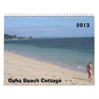 Cabaña 2013 de la playa de Oahu Calendario De Pared