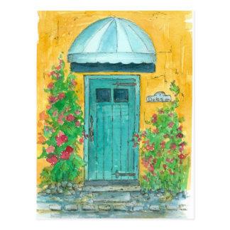 Cabaña azul del Hollyhock del amarillo de la Postales