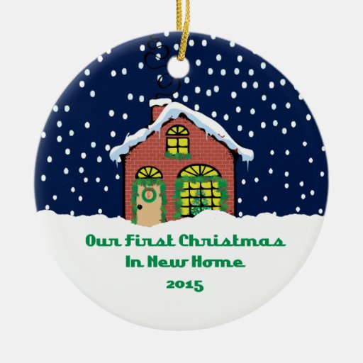 Cabaña casera del ladrillo de 2015 nueva navidad adorno navideño redondo de cerámica