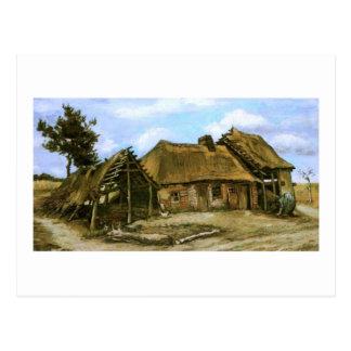 Cabaña con el granero decrépito, mujer, Vincent Postal