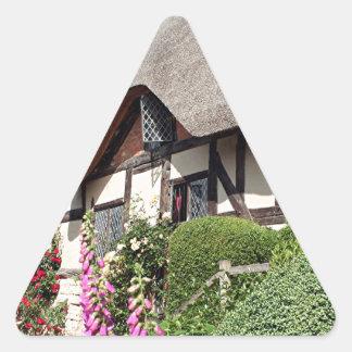 Cabaña cubierta con paja, Reino Unido 14 Pegatinas Triangulo Personalizadas