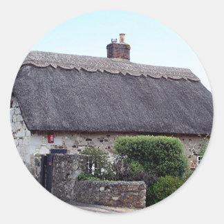 Cabaña cubierta con paja, Reino Unido 6 Etiquetas Redondas