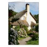 Cabaña cubierta con paja, Selworthy, Exmoor, Somer Tarjeton