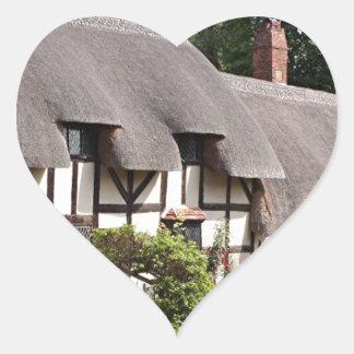 Cabaña cubierta con paja, Stratford, Inglaterra, Pegatina En Forma De Corazón